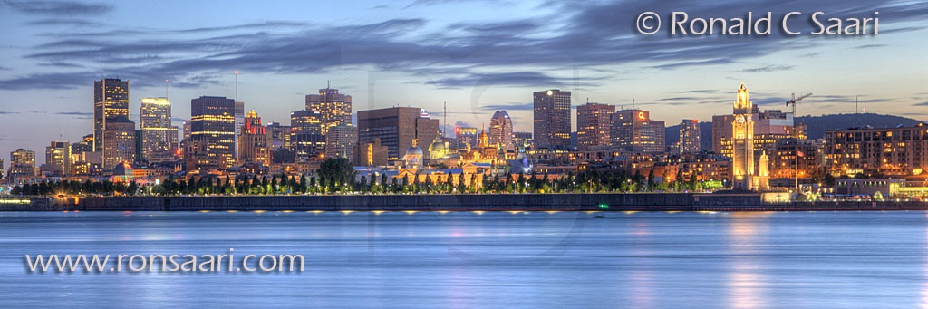 Montreal Skyline At Dusk Panoramic 2