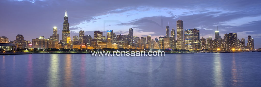 Chicago Skyline At Dusk Panoramic