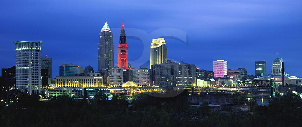 Cleveland Skyline At Dusk Panoramic 2