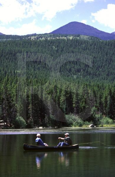 Canoeing On Sprague Lake, Rocky Mountain National Park