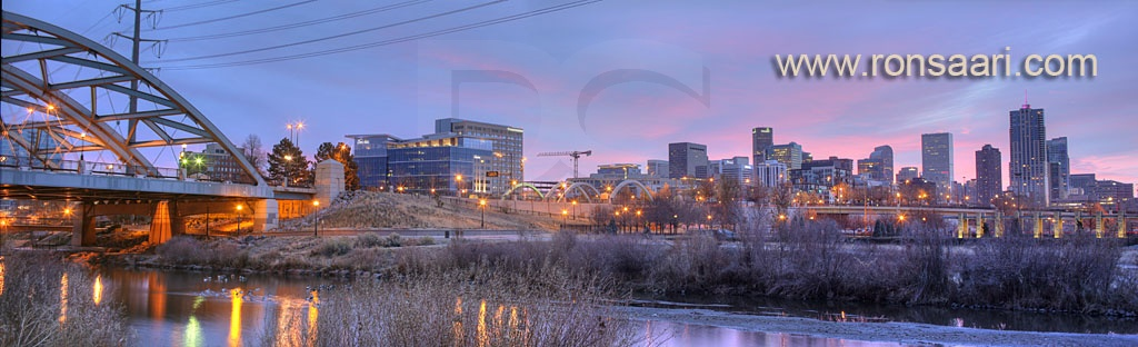 Speer Boulevard Bridge, Platte River, and Denver Skyline
