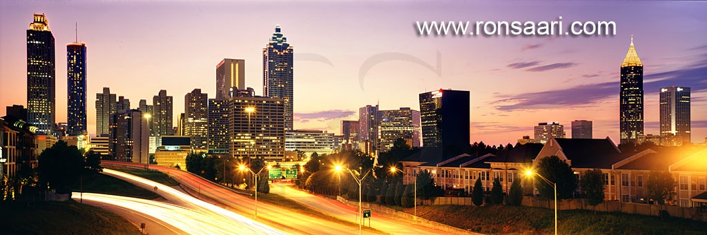 Atlanta Skyline At Dusk Panoramic 2