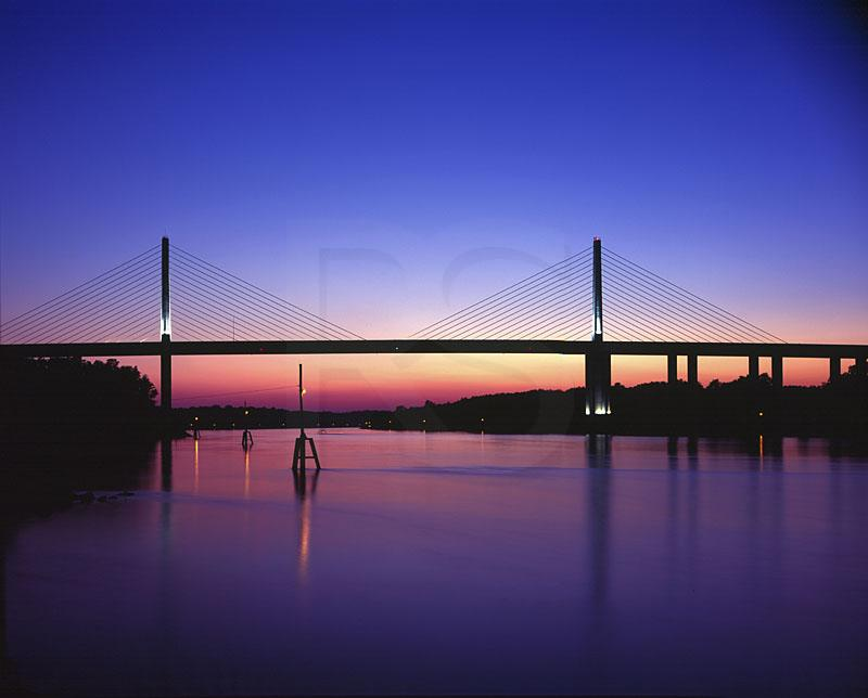 Chesapeake And Delaware Canal Bridge At Twilight
