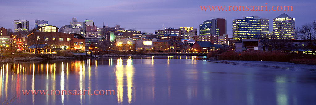 Wilmington Skyline At Dusk Panoramic 1