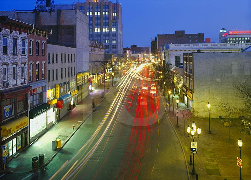 Elizabeth Skyline And Broad Street At Dusk