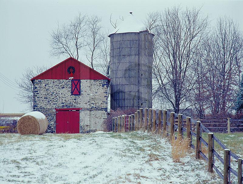 Old Stone Barn, Silo and Fence