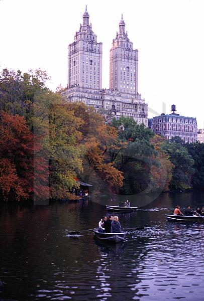 Central Park Boating Lake In Fall