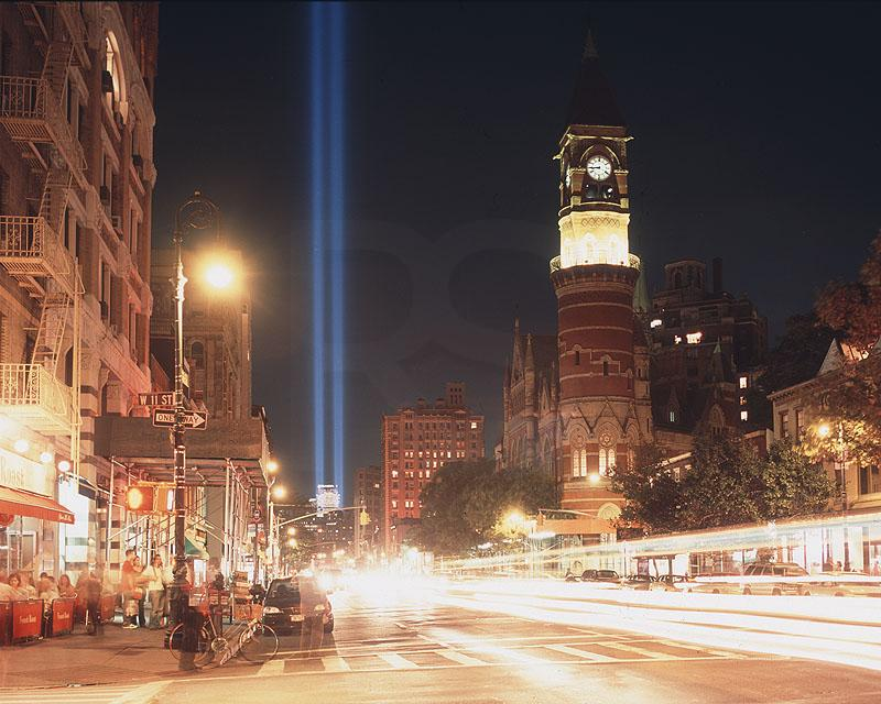 Tribute Of Light 2004, as seen from Greenwich Village