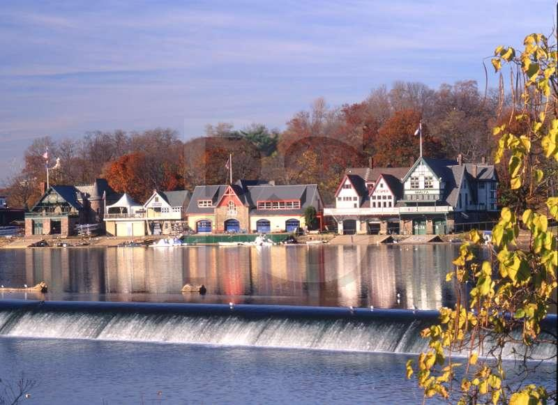 Boathouse Row, with fall color